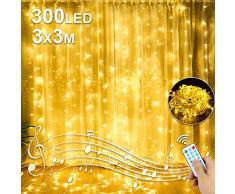 Nasharia LED USB Lichtervorhang 3m x 3m, 300 LEDs Lichterketten Vorhang IP44 Wasserdicht mit 8 Lichtmodelle für Partydekoration deko schlafzimmer, Innenbeleuchtung, Warmweiß