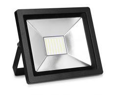 kwmobile LED Flutlicht Strahler 30W - LED-Strahler 2100 Lumen mit Stromkabel - Flutlichtstrahler Hof Treppe Garten Garage Wand - Fluter Scheinwerfer
