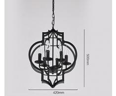 Retro Pendelleuchte Hängelampe Industrielle Deckenleuchte Vintage  Kronleuchter Kreative Eisen Schwarz Dekorative (6 Flammig)