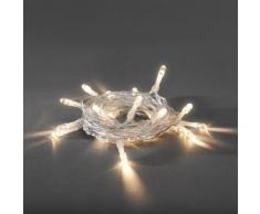 Konstsmide 1469-103 LED Lichterkette/für Innen (IP20) / VDE geprüft/Batteriebetrieben: 3xAA 1.5V (exkl.) / mit Schalter und 6h Timer / 30 warm weiße Dioden/transparentes Kabel