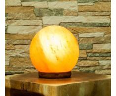 Salzkristalllampe Salz-Kugel Lampe mit Holzsockel