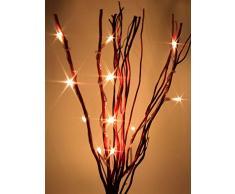 hibuy Lichterzweig/Weidenzweig - mit LED Beleuchtung - 40 cm - 12 LEDs - Batterie betrieben - Farbe: rot