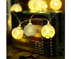 lederTEK LED Lichterkette Außen Batterie Laterne 2.3M 20 LED Außenlichterkette Batterie Betrieben Wasserdicht Weihnachtsbeleuchtung für Party, Hochzeit, Festen usw.(warmweiß)