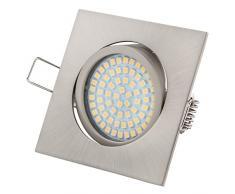 Ultra Flach LED Einbaustrahler Tolles Design Warmweiß 3.5W 230V Edelstahl Optik Eckig Schwenkbar Einbauspots, 5 Stück Einbauleuchten