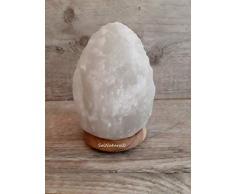 Weiß HALIT Salzlampe Salzleuchte Naturform Inklusive Salzlampenfassung CE E14+ Glühbirne 15 Watt (4-6 Kg)