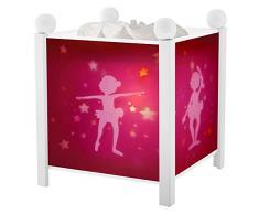 Trousselier - Ballerina - Nachtlicht - Magische Laterne - Ideales Geburtsgeschenk - Farbe Holz weiß - animierte Bilder - beruhigendes Licht - 12V 10W Glühbirne inklusive - EU Stecker