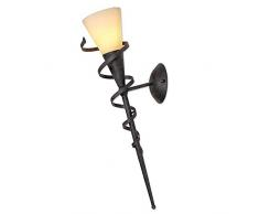 LHG Wandfackel für stimmungsvolles Licht | Lampe 59cm Höhe | Lampenglas cremefarben gesandet | Wand-Leuchte Spirale rost-braun antik
