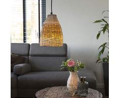 QAZQA Landhaus/Vintage/Rustikal Ländliche Pendelleuchte/Pendellampe/Hängelampe/Lampe/Leuchte 20 cm Rattan und weiß mit Eisendetails - Rattan gebürstet/Innenbeleuchtung/Wohnzimmerlampe