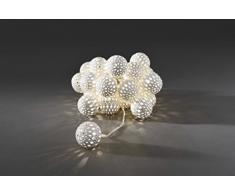 Konstsmide 3156-103 LED Dekolichterkette weiße Metallbälle / für Innen (IP20) 24V Innentrafo / 24 warm weiße Dioden / transparentes Kabel