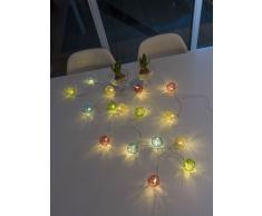 Konstsmide 3176-503 LED Dekolichterkette bunte Aluminium Drahtkugeln / für Innen (IP20) / Batteriebetrieben: 3xAA 1.5V (exkl.) / 16 warm weiße Dioden / transparentes Kabel
