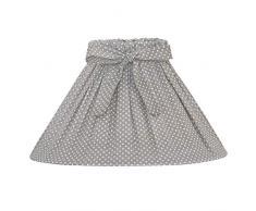 Großer Lampenschirm STINE grau weiß gepunktet mit Schleife Tischlampe Landhaus E14 E27