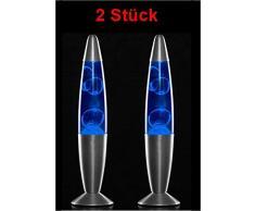 GKA Lampe Magma Lavalampe Magmaleuchte Lavalampe 34 cm Tischlampe Leuchte wunderschöne Ausgefallene Lampe Tischleuchte mit Ersatzbirne, Farbe: Blau
