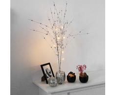 LED-Zweige Silber glitzernd, 10 LED, Höhe 76cm, batteriebetrieben - Lichterzweige Lichterdekoration Stimmungslicht Stimmungsleuchte