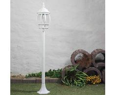 Rustikale WegleuchteBrest in weiß mit E27 bis zu 60W 230V IP23 Gartenleuchte Wegelampe antik Laterne Aussenleuchte Aussenlampe Wegeleuchte Stehleuchte Standlampe