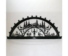 Schwibbogen Lichterbogen Metall - Motiv: Fichtelberg - XXXL 2 Meter Breite Außen-Bereich schwarz * riesen groß * Erzgebirge Bergmann