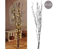 60 LEDs Lichterzweige silber mit Beleuchtung Lichterkette Leuchtzweig Dekoration Lichter Zweig 120cm