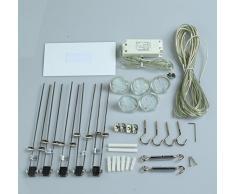 LED Seilsystem Strahler Spotleuche Schienensystem Spotlight MR16 GU5.3 LED Leuchtmittel 3Watt 300lm 2700K und Driver (5 x 3Watt)