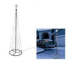 HI LED Baum 120,180,240cm mit Stern Metall Lichterbaum Weihnachtsbaum Kegelbaum, Baum Längen:120 cm