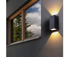 BQYY IP65 Wasserdichte Wandleuchte LED Außen Wandlampe 14W Warmweiß Moderne Gartenlampe Glas Lampenschirm Aluminium Schwarz/für Wohnbereiche Landhaus Terrasse Balkon 3000K