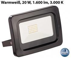 Luminea Wand Arbeitsscheinwerfer: Wetterfester Mini-LED-Fluter, 20 W, 1.600 lm, IP65, 3.000 K, warmweiß (Sehr Starke und Helle LED Lampen)