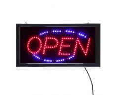 LED Leucht-Schild OPEN Leuchtreklame geöffnet/open - Werbung, annimierte Reklame, Stopper, rot/blau