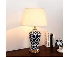Retro Keramik Tischlampe, Schlafzimmer Nachttischlampe, Study Room Beleuchtung, Geeignet for Schlafzimmer, Wohnzimmer und andere Wohnbereiche (Farbe: blau) - Mit europäischen Steckern