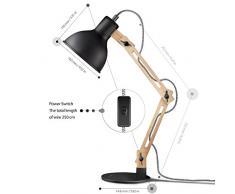 Tomons Leselampe im klassichen Holz-Design, Schreibtischlampe, Tischleuchte, verstellbare Schreibtischlampe, Lampe mit verstellbarem Arm, Augenfreundliche Leselampe, Arbeitsleuchte, Bürolampe, Nachttischlampe, Designer-Lampe