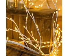 Weißer Lichterzweig h 3 m, 288 LEDs warmweiß, weißes Kabel, Dauerlicht, 24V Trafo INKLUSIVE, innen/außen