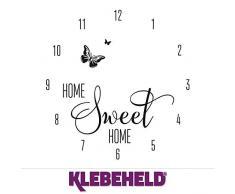 KLEBEHELD® Wandtattoo Uhr Home Sweet Home mit Schmetterling für Wohnzimmer, Küche, Flur oder Wohnbereiche Farbe schwarz, Größe 45x47cm | Uhrwerk schwarz, Umlauf 44cm