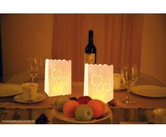 LUMINARIA 8540100 Lichtertüte Glücksklee klein - 10er Set, Windlicht, Zellstoff, 11 x 16 x 9 cm, Weiß
