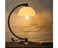 Tischleuchte rustikal/braun/creme / 1x E27 bis 60 Watt 230V / Tischlampe mit Schalter/Lampe Shabby Chic/Landhaus Leuchte/Beleuchtung Wohnzimmer Nachttischlampen Schlafzimmer