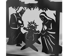 Schwibbogen Lichterbogen Metall - Motiv: Geburt Jesus Christus - XL 1,2 Meter Breite Außen-Bereich schwarz * groß *