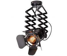 Deckenstrahler Retro Schwarz Industrie Strahler Skalierbar Eisen E27 schwenkbarer Schienen-Strahler, Metall Deckenleuchte Schienensystem Innen Dekoration Deckenspot Lampe