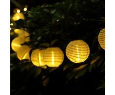GDEALER lichterkette batterie 7.5 M 30 Lampions 8 Modus Wasserdicht Batteriebetriebene Laterne LED Lichterkette außen für Garten Patio Zimmer Weihnachten Halloween Hochzeitsdekoration - Warmes Weiß (weiß)