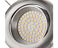 sweet led® Flaches Design LED Einbaustrahler Flach | 320 Lumen | 3.5W | 230V | Edelstahl Optik | Rund - Eckig | Schwenkbar Einbauspots Einbauleuchten Einbau led (Rund - Kaltweiß)
