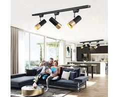 LED Schienensystem Deckenleuchte 3 Flammig E27 3 * 7W Leuchtmittel Modern Deckenstrahler Schwarz Gold Schienen-Leuchte Drehbar Und Schwenkbare Decken-Spots Warmweiss Licht