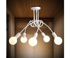 WWWWW Industrielle Retro-Leuchte, halb eingebettete Deckenleuchte, Schmiedeeisen-Knotenleuchte im Metallstil, schwarz/weiß, 5-Kopf-Modell, ideal for Wohnbereiche Deckenleuchte (Color : White)