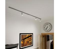 SLV Schienensystem Starter-Set mit 3 LED-Spots in Silbergrau | Moderne 1-Phasen Aufbauschiene für Ihren Laden, Schaufenster, Lokal, Boutique | 230V, 3 x GU10 LED-Leuchtmittel inklusive | 2 x 1 Meter