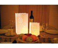 Efco - Deko-Licht-Tüten Glücksklee 26x15x9 + 16x11x11 cm 4 + 4 Stk. weiß Verkaufseinheit = 1 Beutel Lichttüte