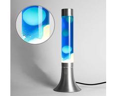 Klassische LavalampeYvonne in weiß - blau 38 cm hoch mit Kabelschalter inklusive Leuchtmittel Lavaleuchte für ein paar tolle Stunden