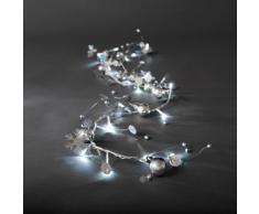 Konstsmide 3189-903 LED Dekolichterkette silberfarbene Kugeln / für Innen (IP20) / 24V Innentrafo / 20 kalt weiße Dioden / transparentes Kabel