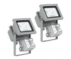 2er Set 10 Watt LED Wand Bau Strahler Fluter Außen Leuchten IP44 Bewegungsmelder Lampen