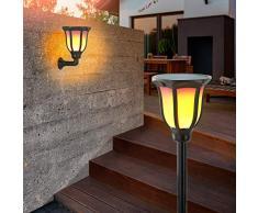 Solar Gartenfackel Akropolis 2er-Set mit echtem Flammeneffekt - großes 1,5W Solarmodul - 96 eingebaute LEDs - (DxH): 14 x 62cm - Fackelleuchte Garten Solarfackel Beleuchtung Solarlampe esotec 102495