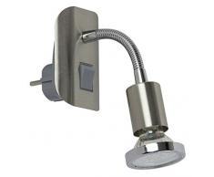 Trango LED Steckerleuchte Nachtlicht Nickel matt inkl. 1x 3000K warm-weiß LED Leuchtmittel & ON/OFF Schalter TG11-052