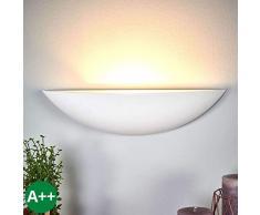 Lampenwelt Wandleuchte, Wandlampe Innen Guilia dimmbar (Modern) in Weiß aus Gips/Ton u.a. für Flur & Treppenhaus (1 flammig, E27, A++) - Wandfluter, Wandstrahler, Wandbeleuchtung Schlafzimmer /