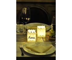 LUMINARIA 8528500 Lichtertüte Tischdeko Platzkarte - 10er Set, Windlicht, Papier, 7.5 x 9.5 x 7.5 cm, Weiß
