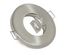 3er Set Einbaustrahler IP65 Optik: Edelstahl gebürstet Bad | Dusche | Sauna | inkl. GU10 5Watt LED Leuchtmittel 2700Kelvin (warm-weiß) 450Lumen Milchglas (Leuchtmittel austauschbar) | Einbauleuchten Edelstahl lackiert rostfrei