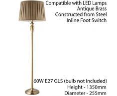 Freistehende Stehlampe, 1350 mm, Antik-Messing, Inline-Fußschalter, Leselampe, 60 W, E27-Birne, Vintage-Stil, für Wohnzimmer/Lounge