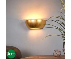 Lampenwelt Wandlampe Kolja dimmbar (Modern) in Messing aus Gips/Ton u.a. für Wohnzimmer & Esszimmer (1 flammig, E14, A++) | Wandfluter, Wandleuchte, Wohnzimmerlampe