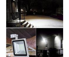 HimanJie 100W LED Fluter Spot - Bewegungsmelder Ausleuchtung Außen- Innenbeleuchtung Garten- Wand- Strahler Kaltweiss wasserfest Ip65 Aluminiumkörper in Grau